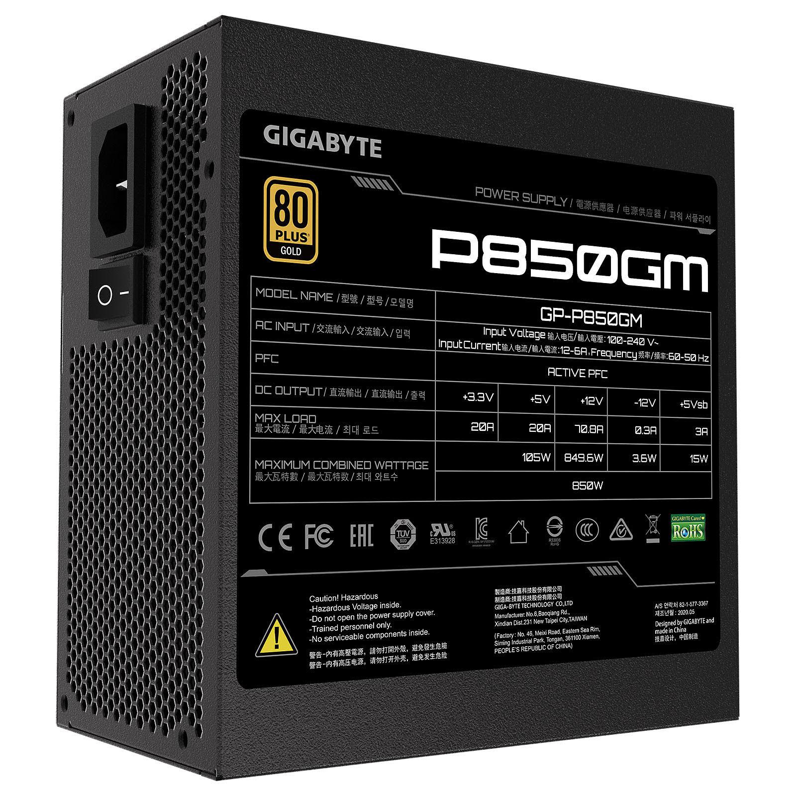 Gigabyte P850GM Fully Modular (850W 80+ Gold) - Alimentation - 2