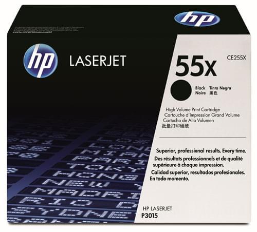 Toner LaserJet 55X Noir 12k5p - CE255X pour imprimante Laser HP - 0