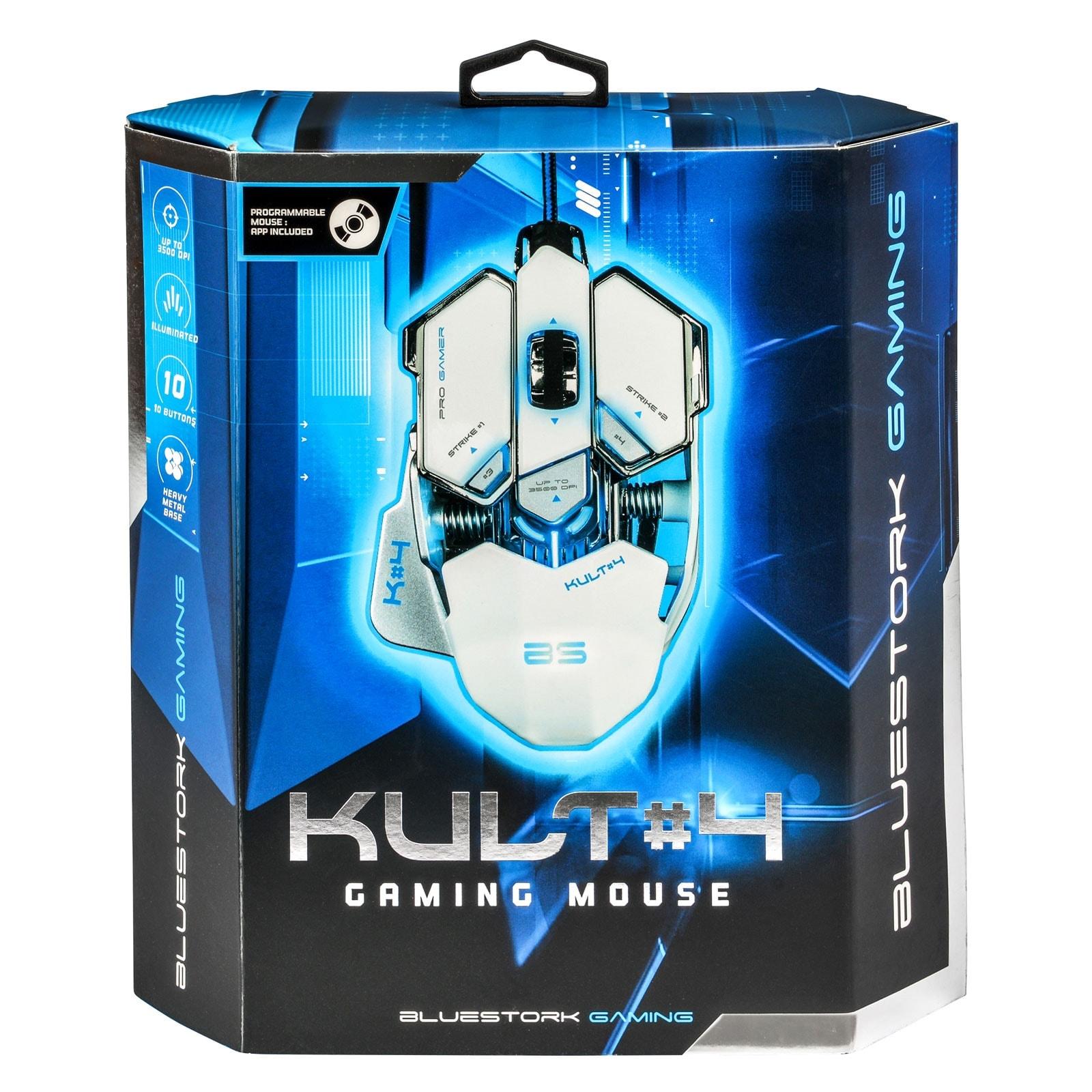 Bluestork KULT 4 WHITE ED. 3500dpi/Rétroéclairé/10 boutons (BS-GM-KULT4/W) - Achat / Vente Souris PC sur Cybertek.fr - 4