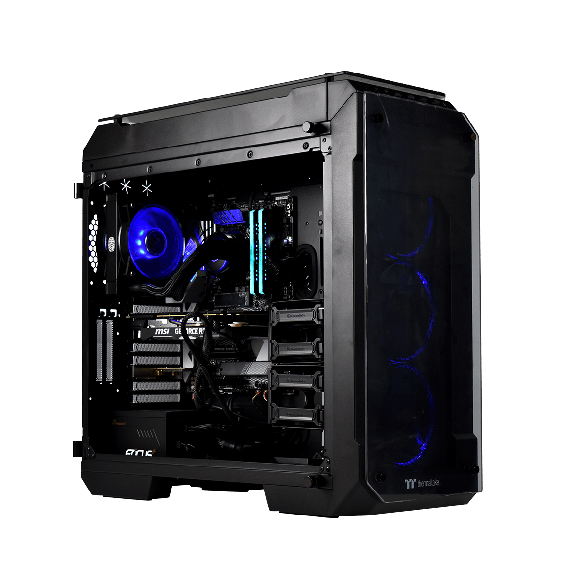 PC Gamer Cybertek QUETZAL Processeur Intel Core i7 8700K - Ballistix 32Go DDR4 - MSI nVidia GF RTX 2080 Super 8Go - Crucial SSD 500Go - 4To HDD - Wifi- Windows 10