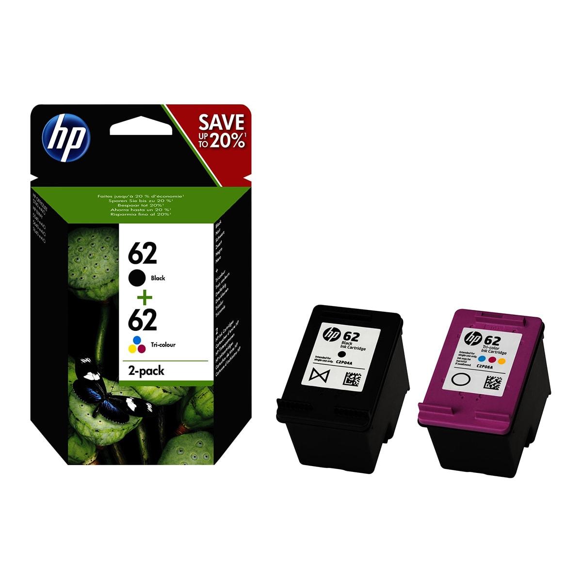 Pack Cartouches Noire + Couleurs N°62 - N9J71AE pour imprimante Jet d'encre HP - 0