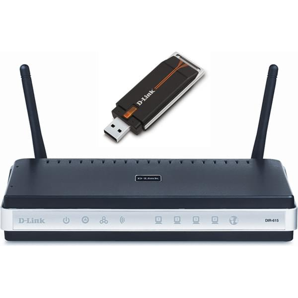 D-Link DKT-400 -Bundle Routeur N DIR-615 + Clé USB WiFi N - Routeur - 0