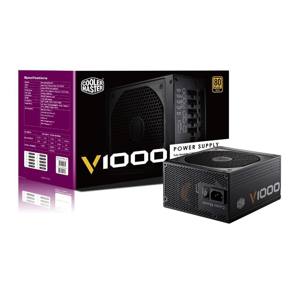 Cooler Master ATX 1000 Watts V1000 80+ Gold RSA00-AFBAG1-EU (RSA00-AFBAG1-EU) - Achat / Vente Alimentation sur Cybertek.fr - 0