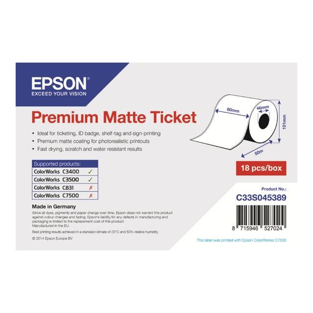 Rouleau Papier Thermique 80mmx50m - C33S045389 - Epson - 0
