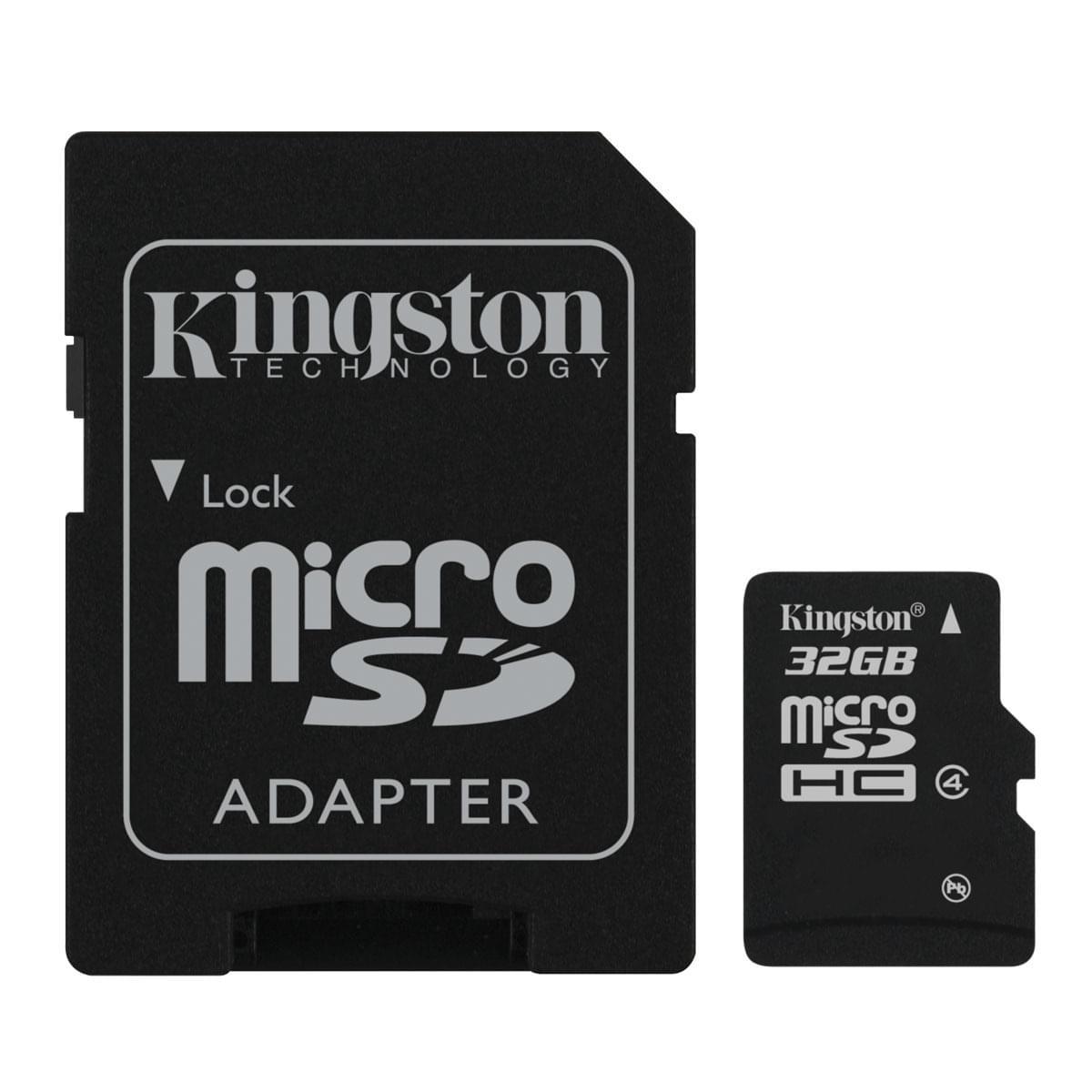 Kingston Micro SDHC 32Go SDC4/32GB class 4 (SDC4/32G soldé) - Achat / Vente Carte mémoire sur Cybertek.fr - 0