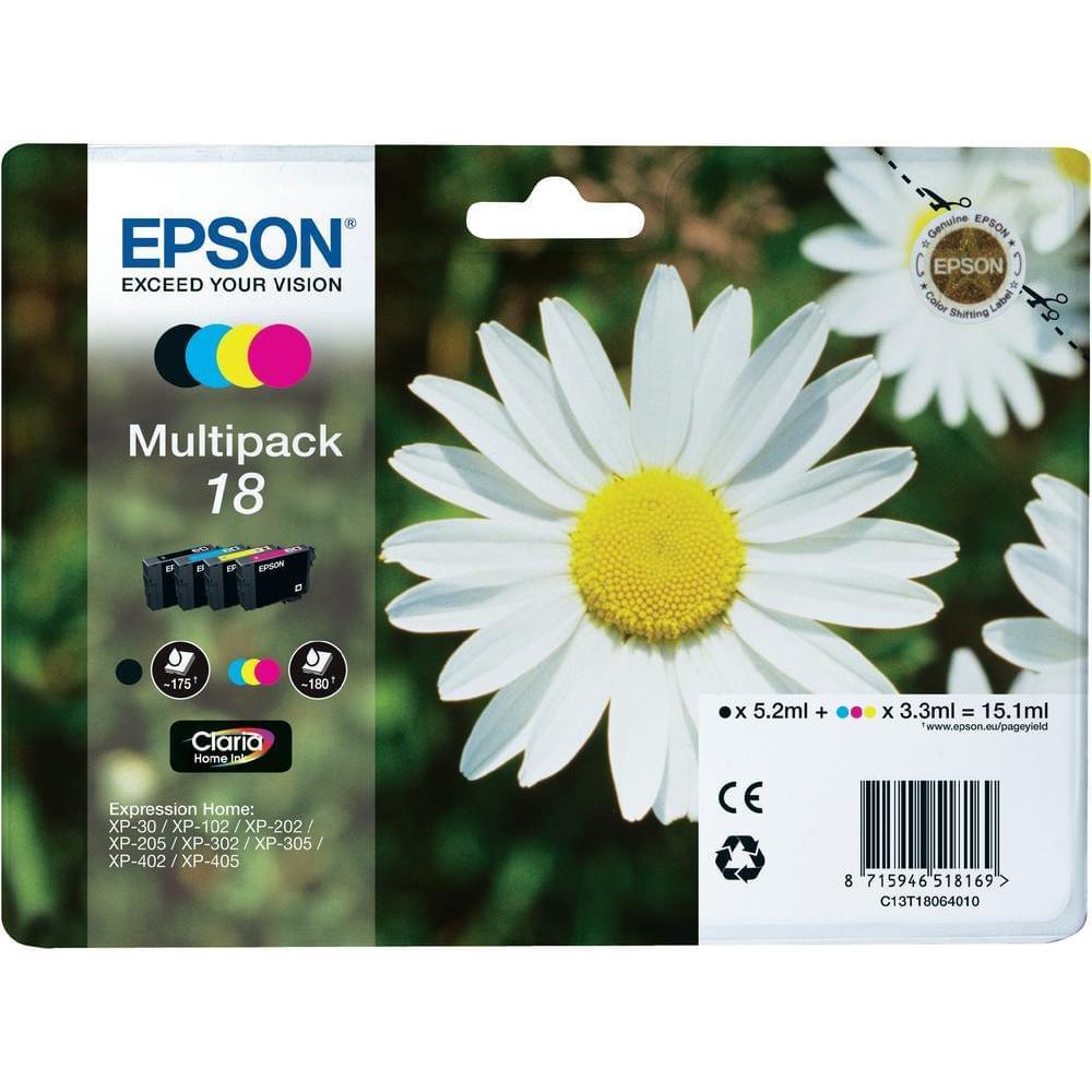 Pack de 4 Cartouches T1806 (BK/Y/M/C) pour imprimante Jet d'encre Epson - 0