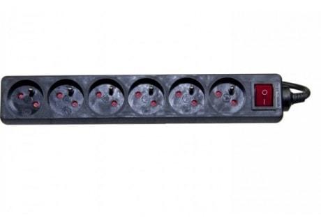6 Prises + Interrupteur - 4,00m/Noir - Onduleur No Name - 0