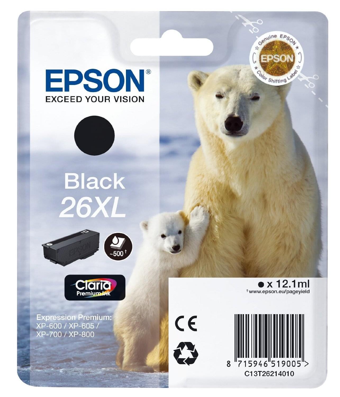Epson Cartouche d'encre Noir 26XL (C13T26214010) - Achat / Vente Consommable Imprimante sur Cybertek.fr - 0