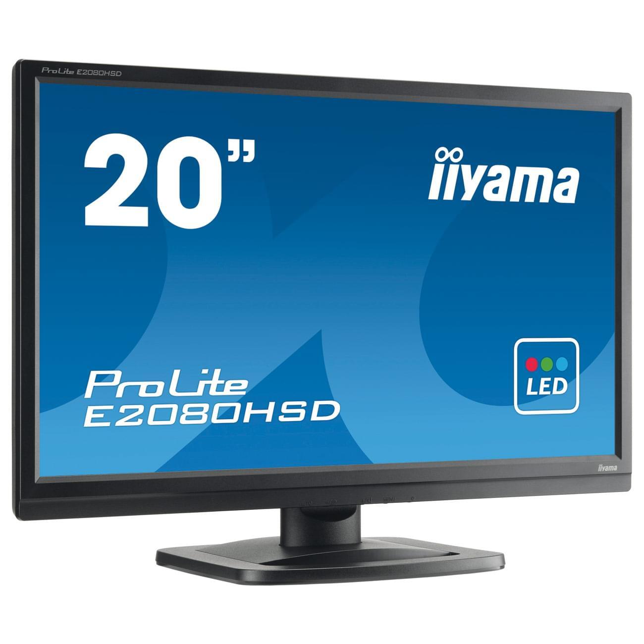 """Iiyama E2080HSD-B1 20"""" LED/5 ms/DVI/NOIR/HP (E2080HSD-B1 SOLDE) - Achat / Vente Ecran PC sur Cybertek.fr - 0"""