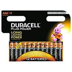 image produit Duracell Lot de 12 Piles Alcaline 1,5V LR03 Plus Power AAA Cybertek