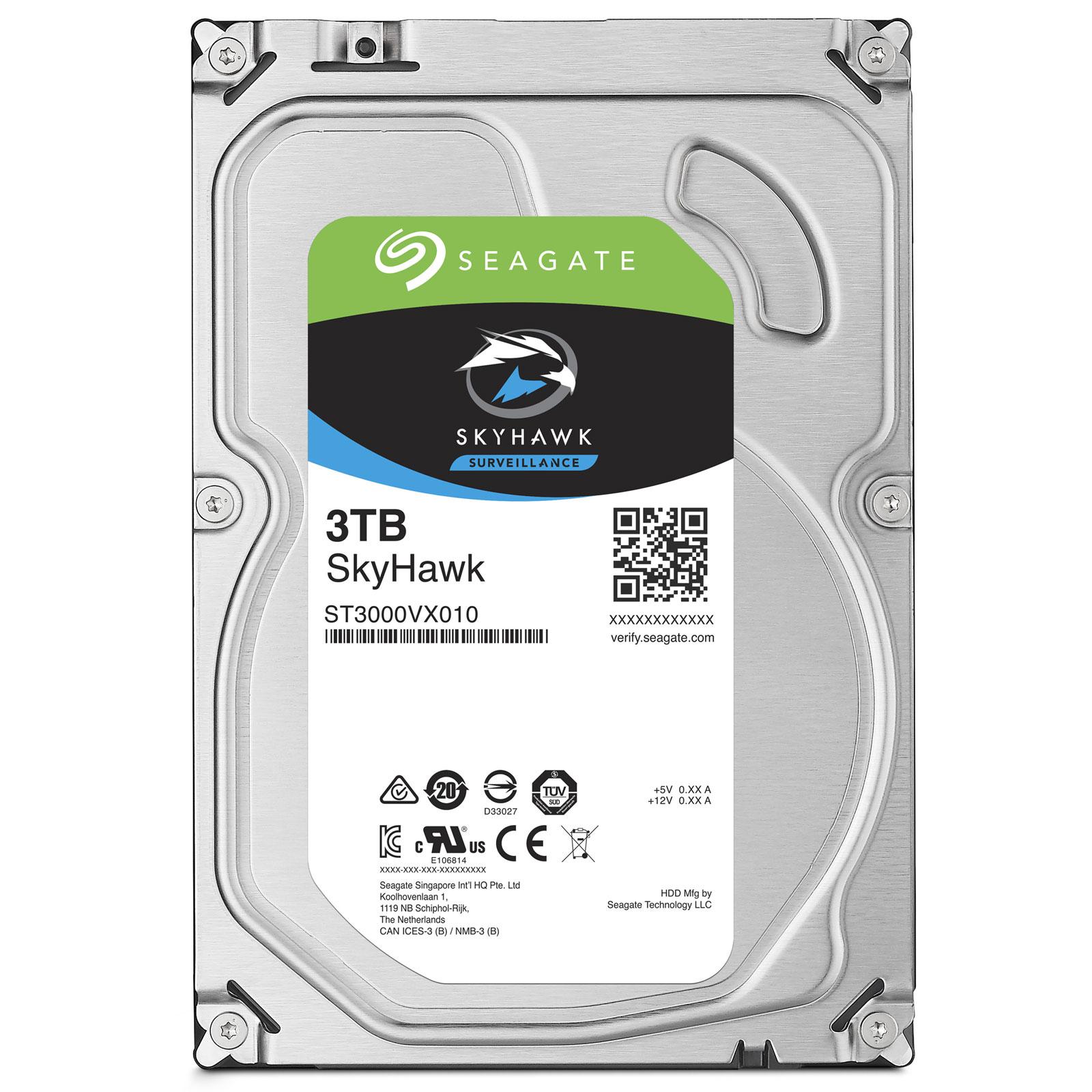 """Seagate 3To SATA III 64Mo SkyHawk ST3000VX010 - Disque dur interne 3.5"""" - 0"""