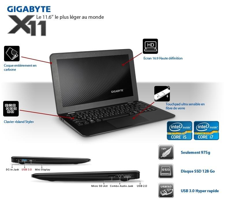 Gigabyte X11-5SB7 (X11-5SB7) - Achat / Vente PC Portable sur Cybertek.fr - 0