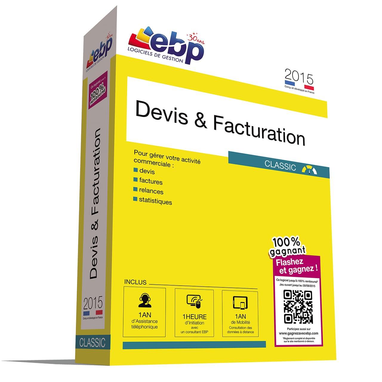 EBP Devis & Facturation Classic 2015+VIP+100% Gagnant (1008J071FAE) - Achat / Vente Logiciel Application sur Cybertek.fr - 0