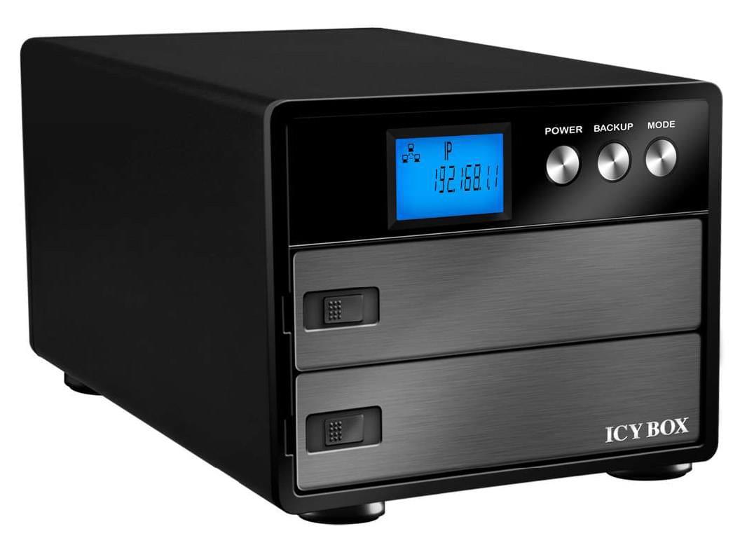 "Icy Box NAS RJ45 10/100/1000/USB/2x3.5"" SATA -IB-NAS3221-B - Boîtier externe - 0"