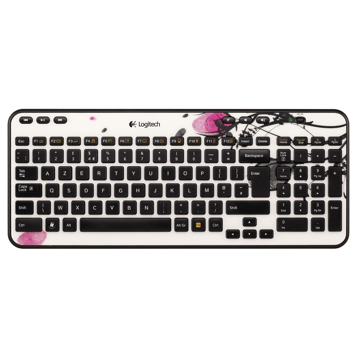 Logitech Wireless Keyboard K360 Fingerprint Flowers (920-003266) - Achat / Vente Clavier PC sur Cybertek.fr - 0