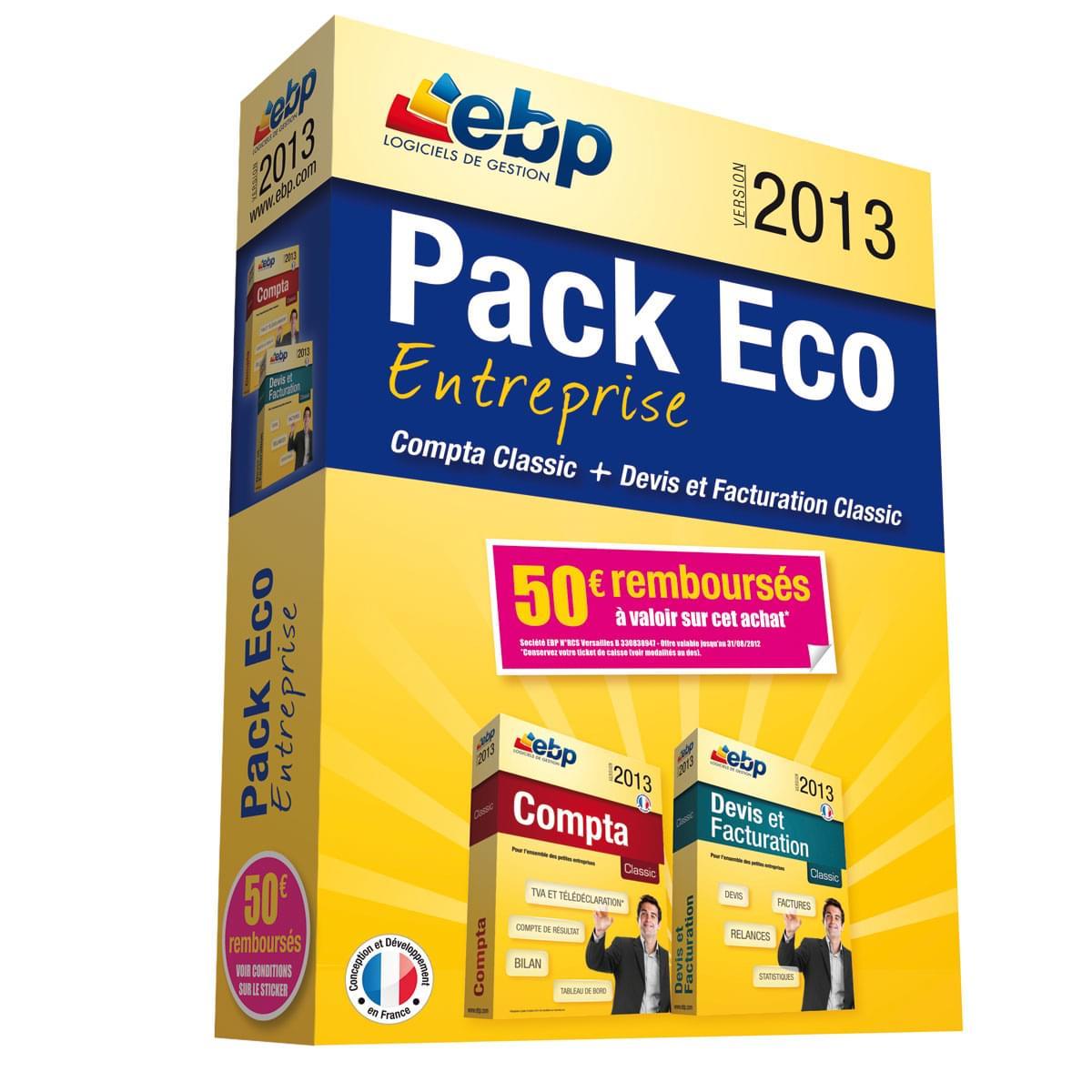 EBP Pack Eco Entreprise 2013 + ODR 50€ (1166J050FAE) - Achat / Vente Logiciel Application sur Cybertek.fr - 0