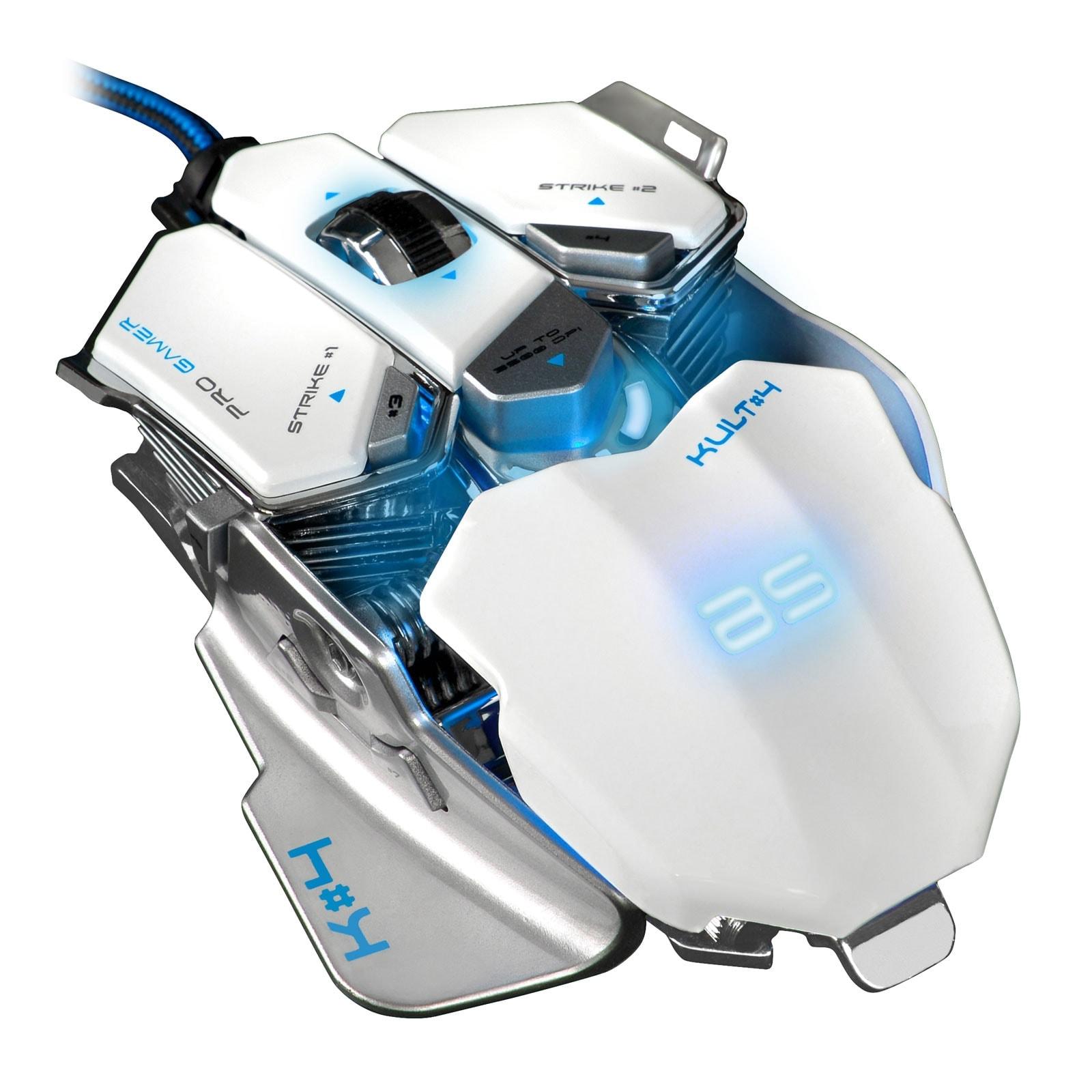 Bluestork KULT 4 WHITE ED. 3500dpi/Rétroéclairé/10 boutons (BS-GM-KULT4/W) - Achat / Vente Souris PC sur Cybertek.fr - 1
