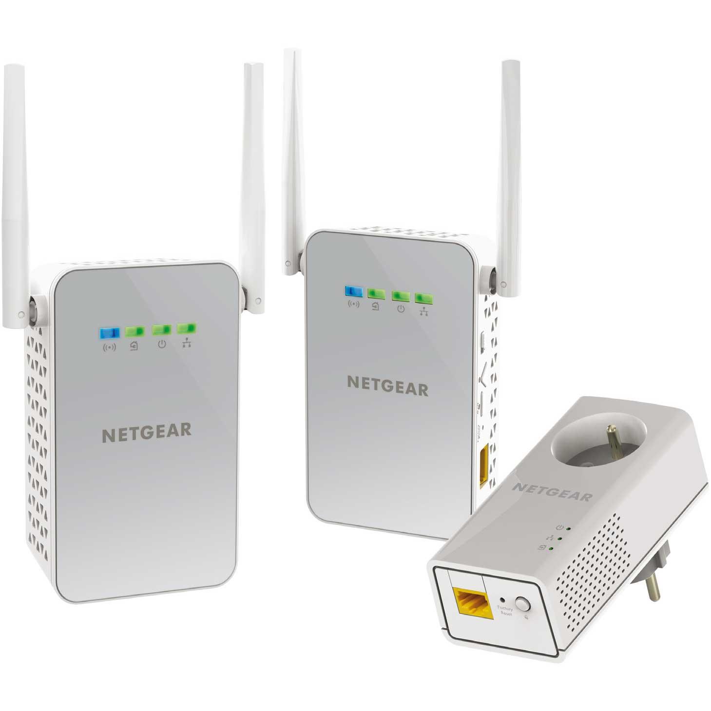 Netgear PLPW1000T (1000Mb) avec prise - Pack de 3 -WiFi AC - Adaptateur CPL - 0
