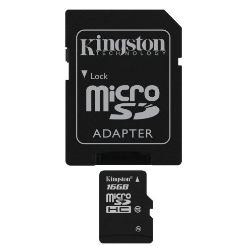 Kingston Micro SDHC 16Go Class 10 + Adapt - Carte mémoire - 0