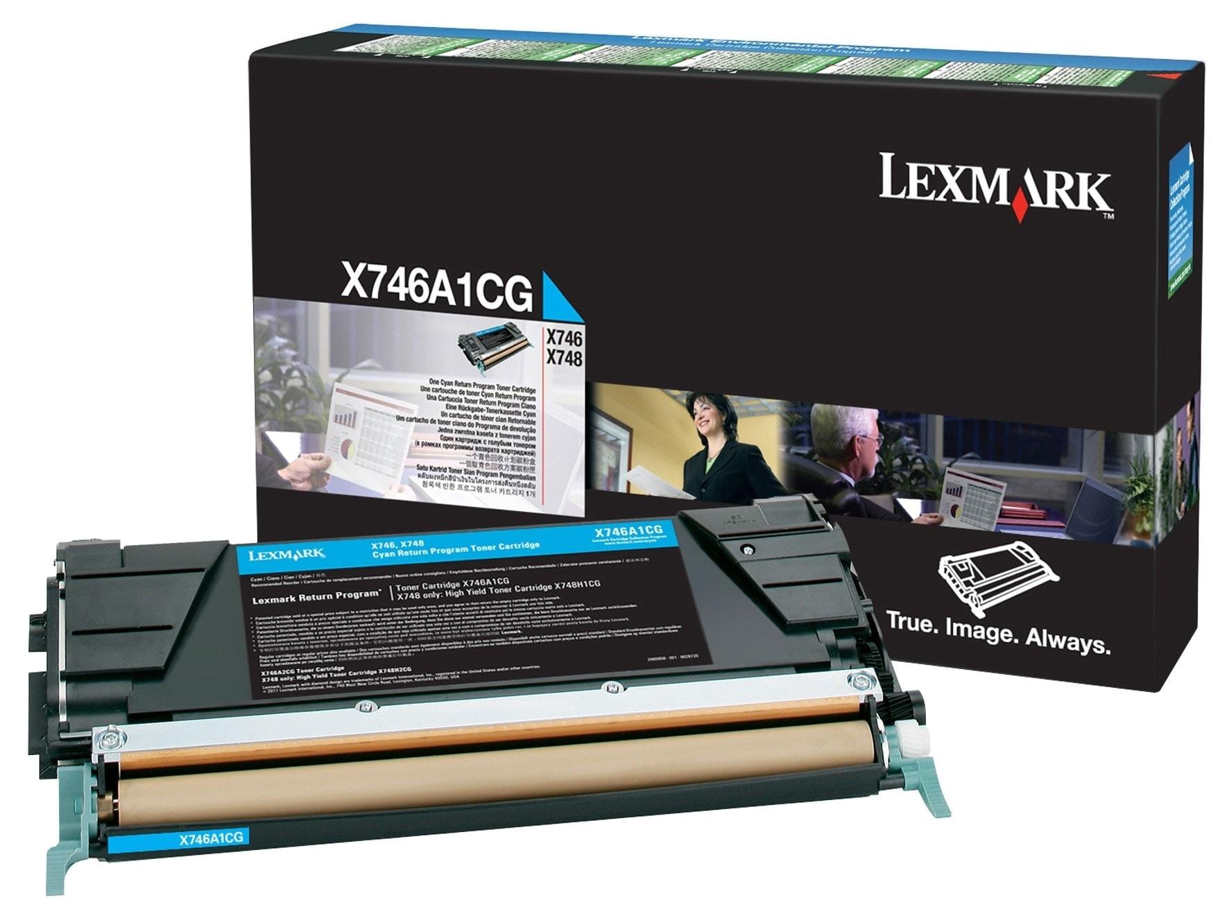 Toner Cyan 7000p. - X746A1CG pour imprimante Laser Lexmark - 0