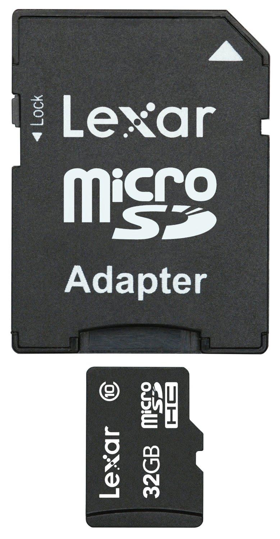 Lexar Micro SDHC 32Go class 10 + Adapt. LSDMI32GABEUC10A - Carte mémoire - 0