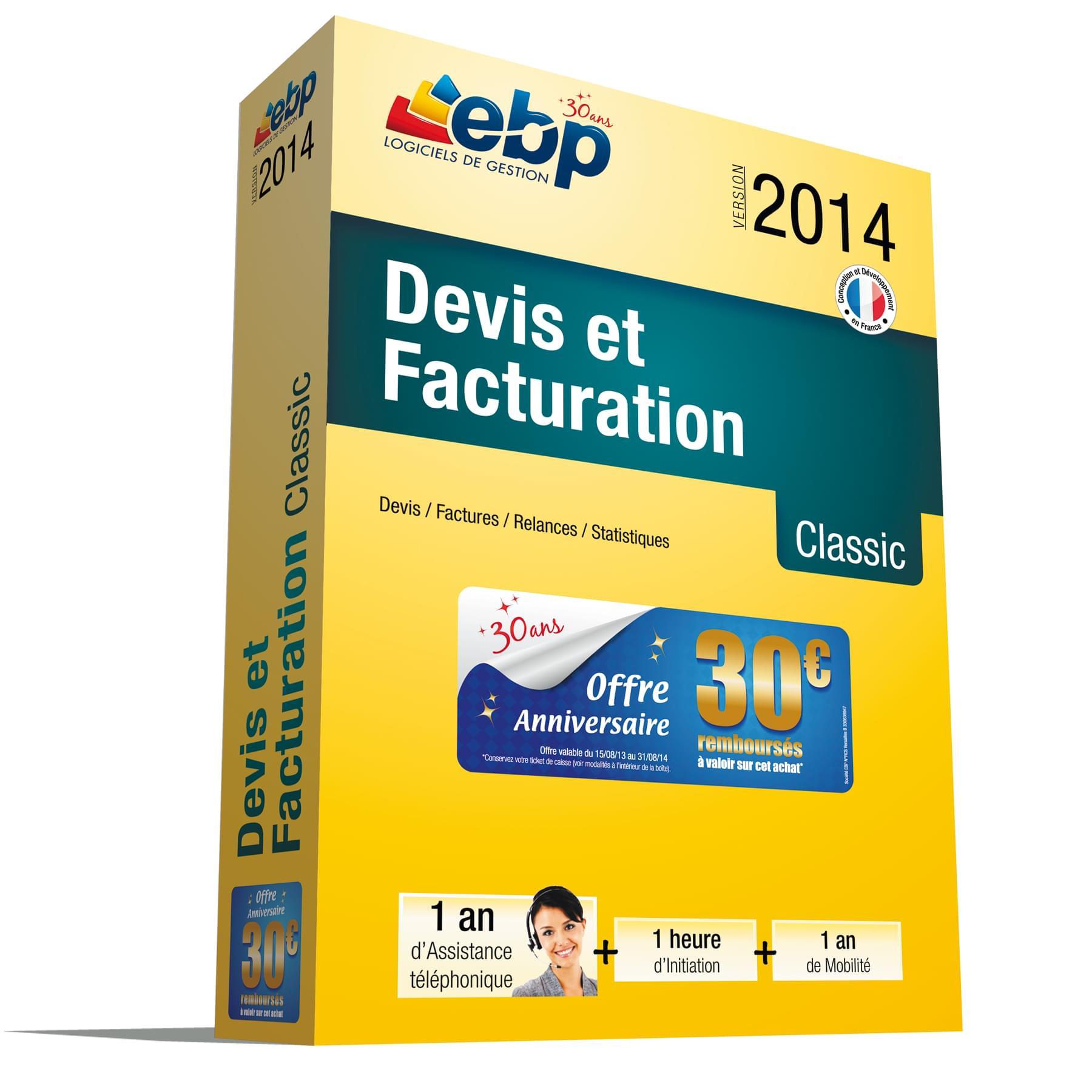 EBP Devis et Facturation Classic 2014 + Services VIP (1008J061FAB) - Achat / Vente Logiciel application sur Cybertek.fr - 0
