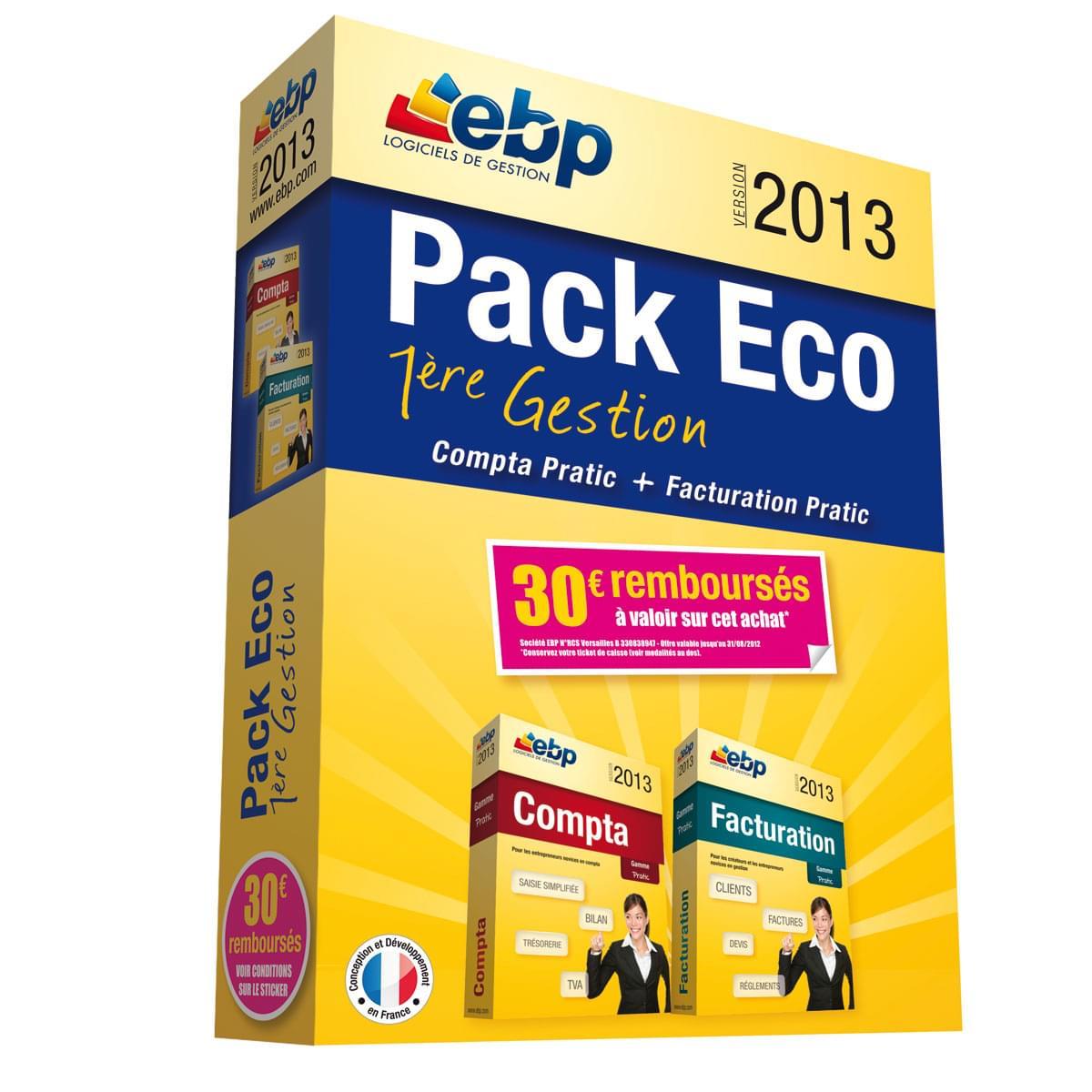 EBP Pack Eco 1ère Gestion 2013 + ODR 30€ (1166E051FAA) - Achat / Vente Logiciel application sur Cybertek.fr - 0