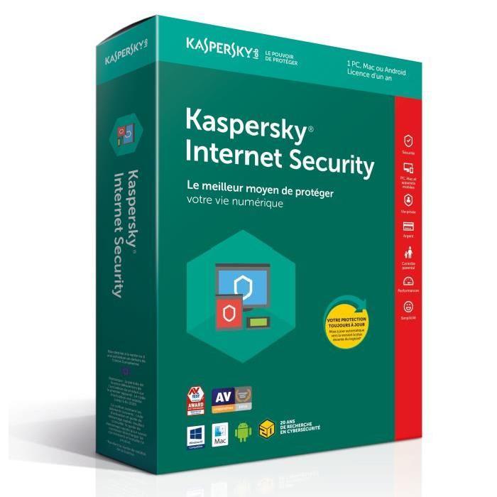 Kaspersky Internet Security 2018 - 1 An / 1 PC - Logiciel sécurité - 0