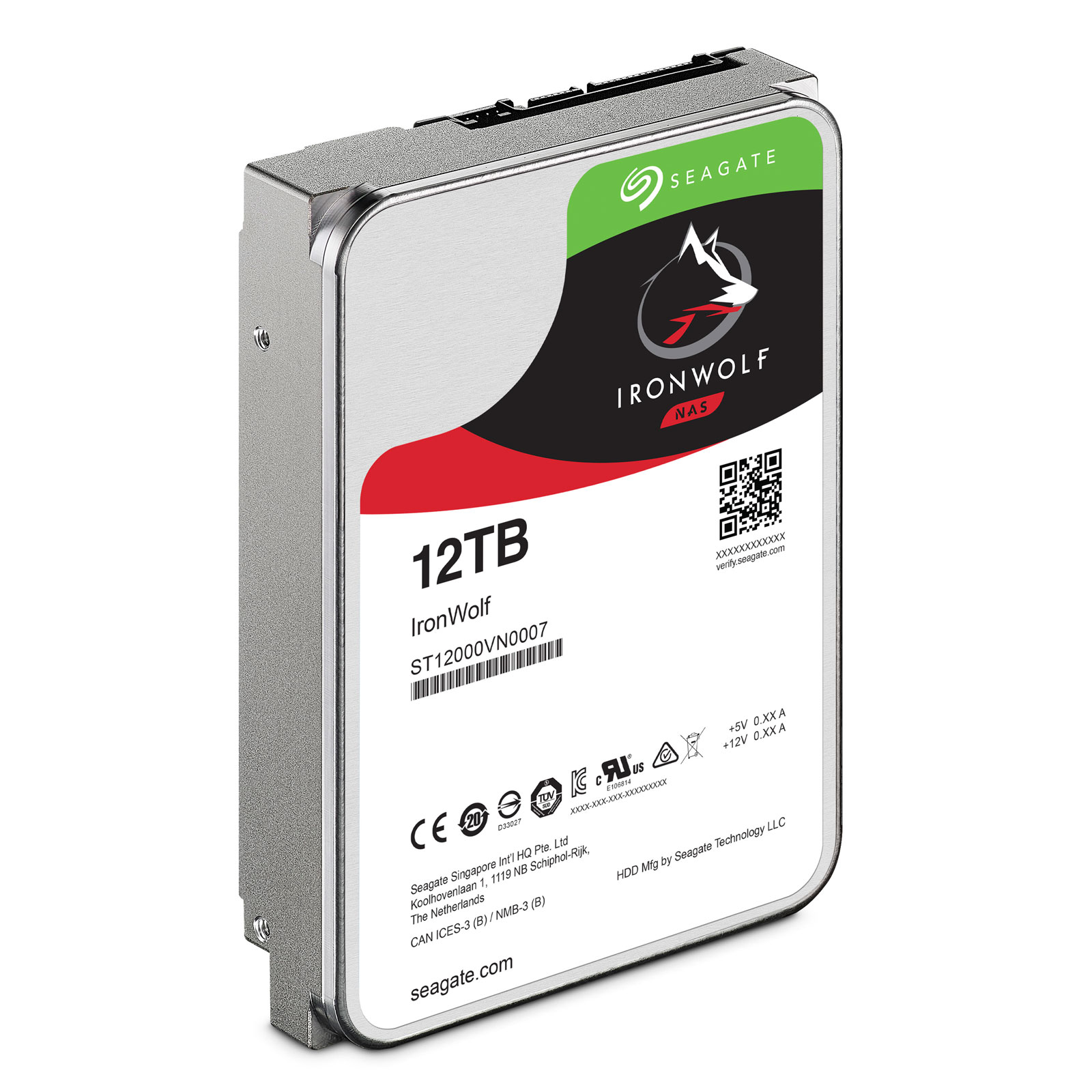 "Seagate 12To SATA III 256Mo IronWolf ST12000VN0007 - Disque dur interne 3.5"" - 2"